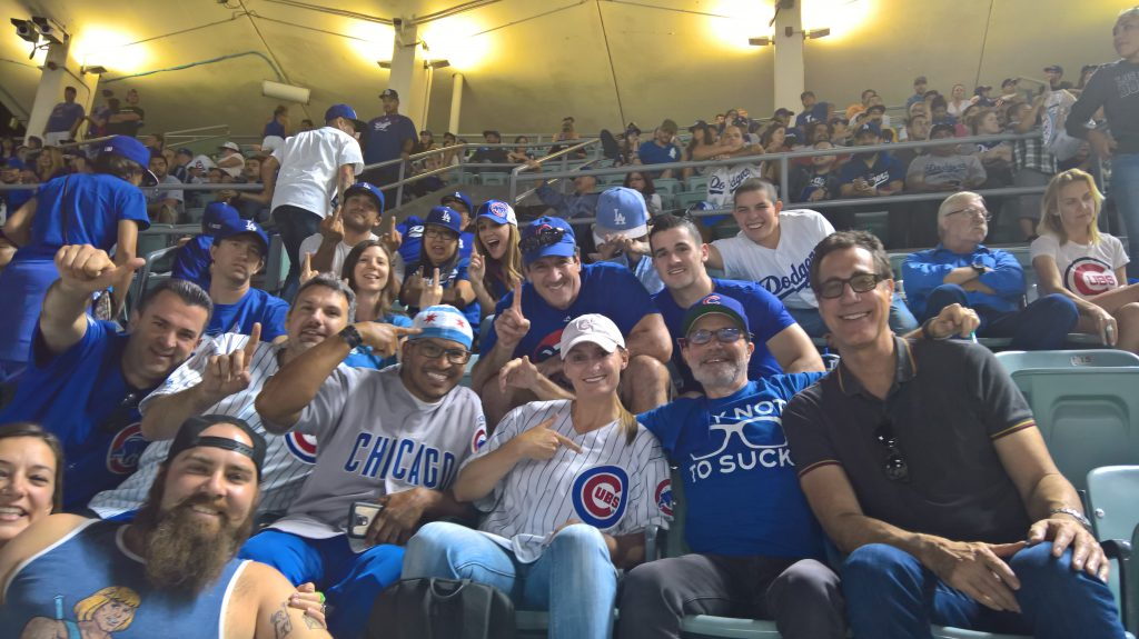 Cubs fans at Dodgers Stadium